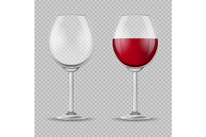 Realistic Detailed 3d Wine Glass Set
