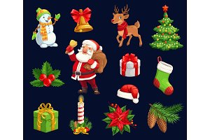 Christmas characters, holiday icons