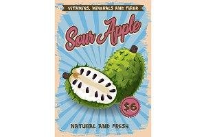 Soursop exotic tropical fruit vector