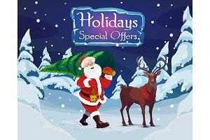 Santa, Christmas tree and a deer
