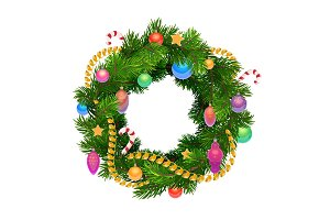 Christmas holiday wreath with balls