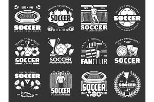 Soccer game sport items icons