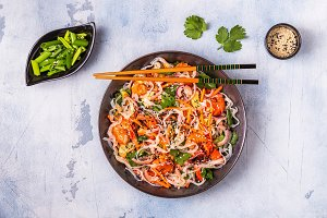 Asian salad with rice noodles