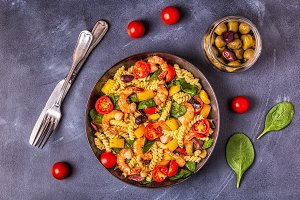 Fusili pasta salad with shrimps