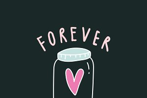 Forever in love typography vector