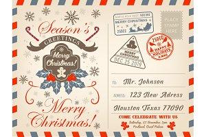 Christmas holiday airmail postcard
