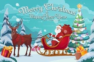 Santa Claus on sleigh and deer