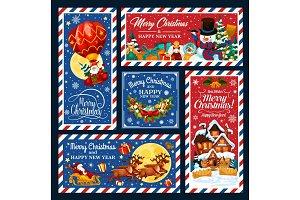Santa on Xmas sleigh, postcards