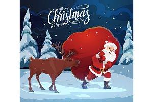Christmas, Santa with deer and bag