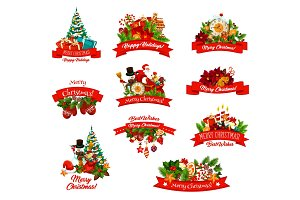 Christmas gifts vector icons