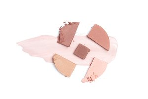 top view of blush of brown, pink and