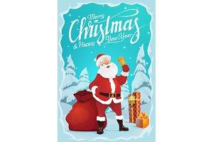 Santa Claus, jingle bell and gifts