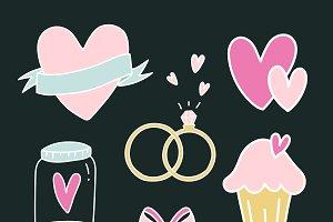 Set of love symbols vector