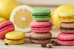 Green, pink, yellow and brown french