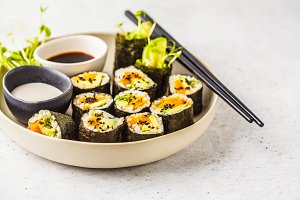 Vegan sushi rolls with sweet potato
