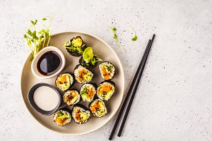 Vegan sushi rolls with pumpkin