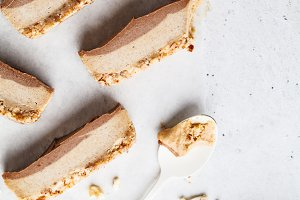 Slices of raw vegan cashew cake