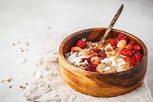 Trendy vegan bowl of oatmeal porridg