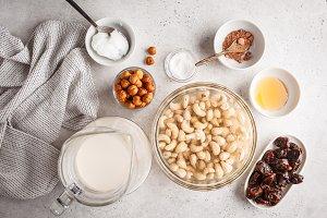 Ingredients for raw vegan cake