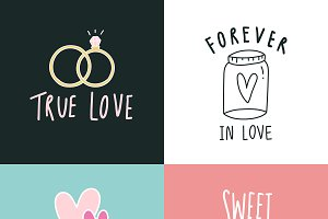 Love expressions icon set vector