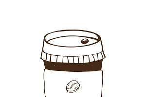 Takeaway hot coffee icon vector