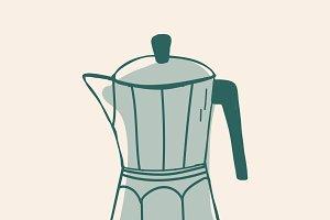 Moka pot coffee shop icon vector