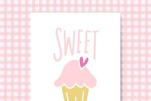 Sweet love cupcake card vector