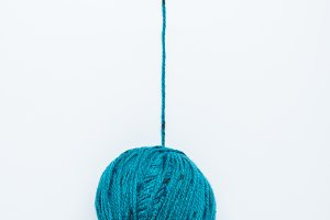 top view of blue yarn ball for kniti