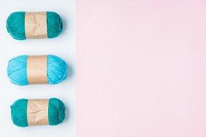 flat lay with arranged blue yarn cle