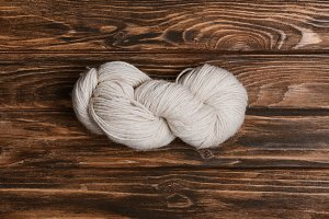 top view of white yarn clew for knit