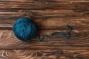 top view of blue yarn clew for knitt