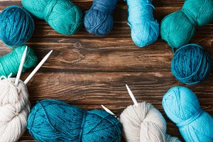 flat lay with arranged yarn clews an