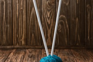 close up view of blue yarn ball and