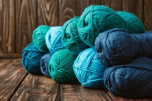 close up view of blue and green yarn