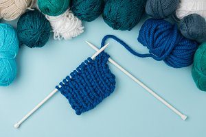 top view of arranged yarn clews and
