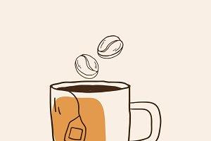 Mug of hot tea cafe icon vector