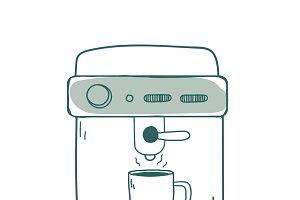 Espresso machine coffee shop icon