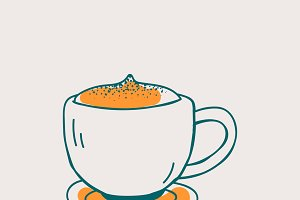 Cup of coffee cafe icon vector