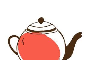 Tea pot cafe icon vector