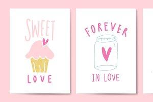 Love expressions postcard set vector