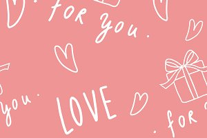 Love and heart pattern pink vector