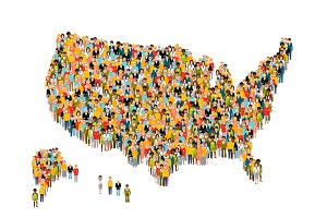 Crowd in USA map silhouette