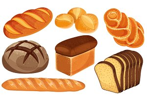 Vector bread icons set