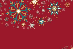 Red Christmas winter snowflake