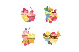 Vector cute cartoon muffins or