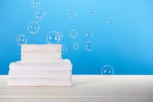 clean soft white towels and soap bub