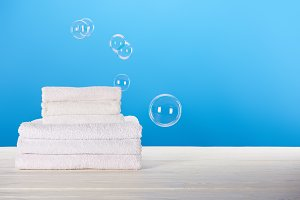 close-up view of clean white towels