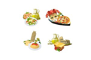 Vector cartoon italian cuisine
