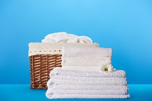 close-up view of white clean towels
