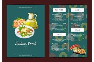 Vector cartoon italian cuisine cafe